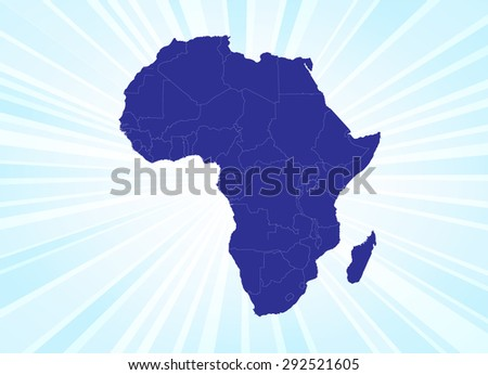 Detailed Map of Africa - Beaming Background - stock vector