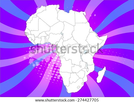 Detailed Map of Africa with Captivating Background - Vectors - stock vector