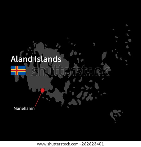 Detailed map of Aland Islands and capital city Mariehamn with flag on black background - stock vector