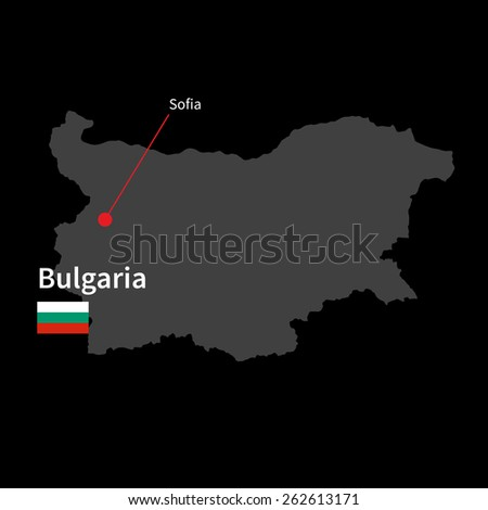 Detailed map of Bulgaria and capital city Sofia with flag on black background - stock vector