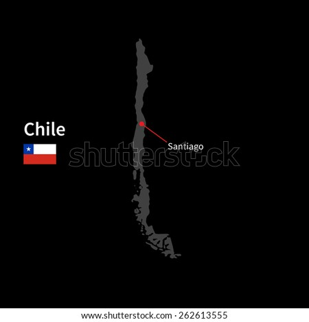 Detailed map of Chile and capital city Santiago with flag on black background - stock vector