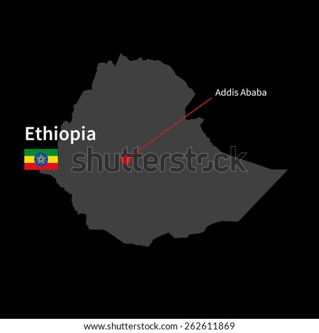 Detailed map of Ethiopia and capital city Addis Ababa with flag on black background - stock vector
