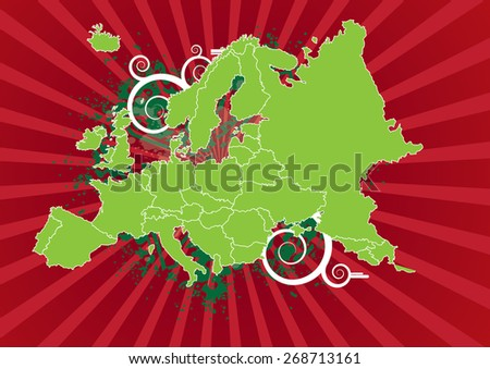 Detailed Map of Europe with Powerful Background - stock vector