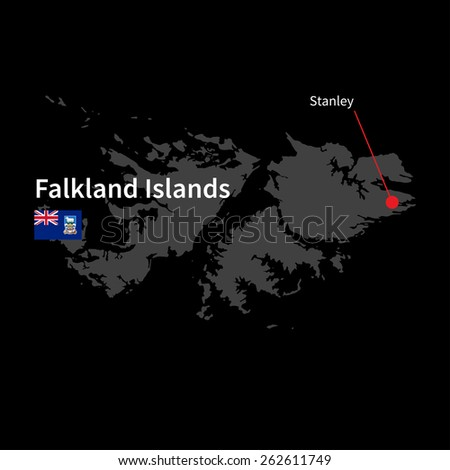 Detailed map of Falkland Islands and capital city Stanley with flag on black background - stock vector