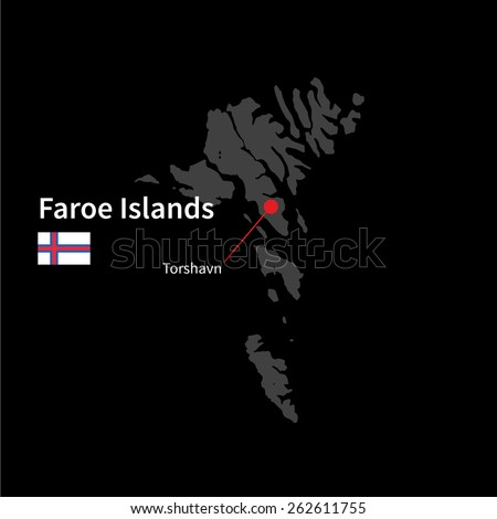 Detailed map of Faroe Islands and capital city Torshavn with flag on black background - stock vector