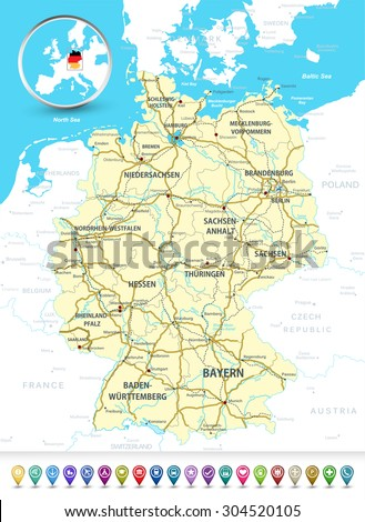 Detailed map of Germany with highways, railroads,water objects and 3D bubble GPS markers/Detailed map of Germany with a 3D bubble GPS markers.