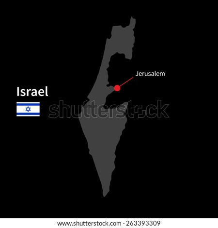 Detailed map of Israel and capital city Jerusalem with flag on black background - stock vector
