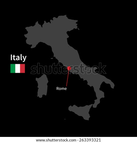 Detailed map of Italy and capital city Rome with flag on black background