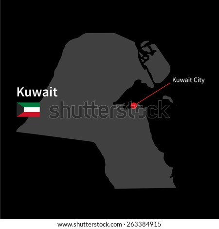 Detailed map of Kuwait and capital city Kuwait City with flag on black background - stock vector