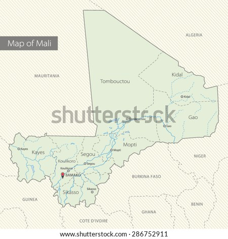 Detailed map of Mali, Africa - stock vector