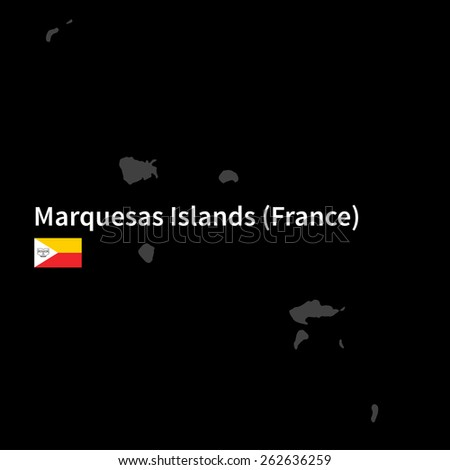 Detailed map of Marquesas Islands with flag on black background - stock vector