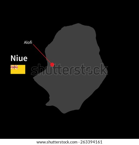 Detailed map of Niue and capital city Alofi with flag on black background