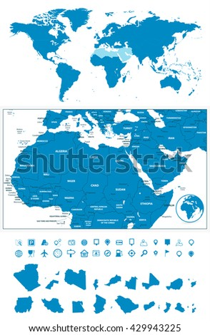 Detailed map of Northern Africa and the Middle East with World map navigation set - stock vector