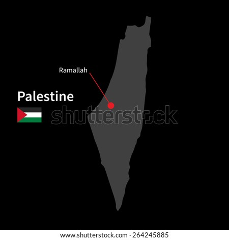 Detailed map of Palestine and capital city Ramallah with flag on black background