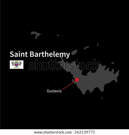 Saint barthelemy stock images royalty free images vectors detailed map of saint barthelemy and capital city gustavia with flag on black background publicscrutiny Choice Image