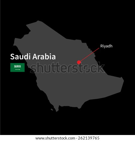 Detailed map of Saudi Arabia and capital city Riyadh with flag on black background