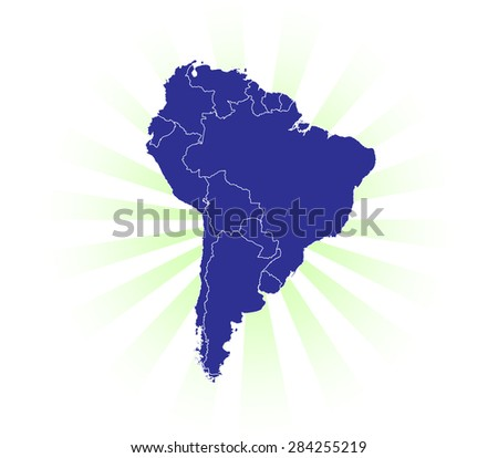 Detailed Map of South America radiating light rays! - stock vector