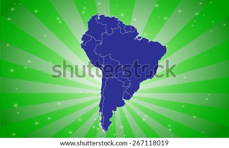 Detailed Map of South America with Eye-Catching Background - stock vector