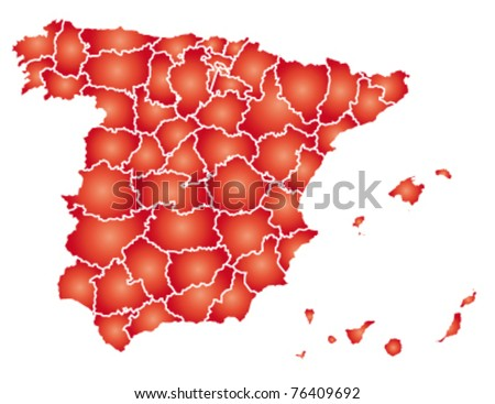 detailed map of spain - stock vector