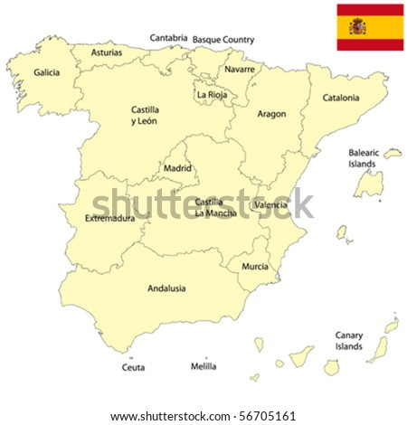 Detailed map of Spain, editable vector - stock vector