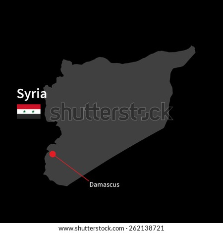 Detailed map of Syria and capital city Damascus with flag on black background - stock vector