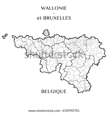 detailed map of the belgian regions of wallonia and brussels capital belgium with