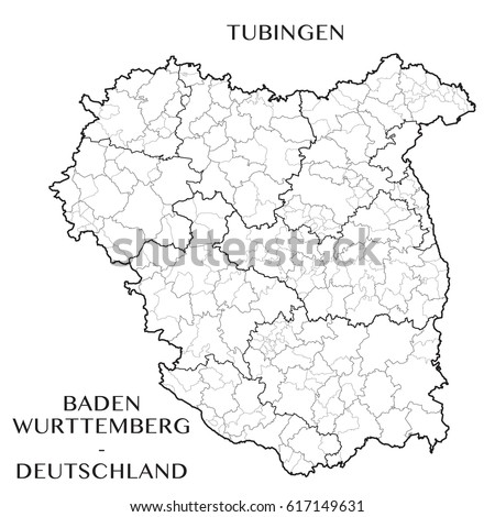 detailed map of the district of tubingen baden wurttemberg germany with borders