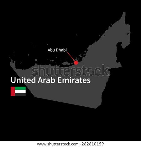 Detailed map of United Arab Emirates and capital city Abu Dhabi with flag on black background - stock vector