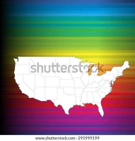 Detailed Map of United States - Bright Light Background (Vectors) - stock vector