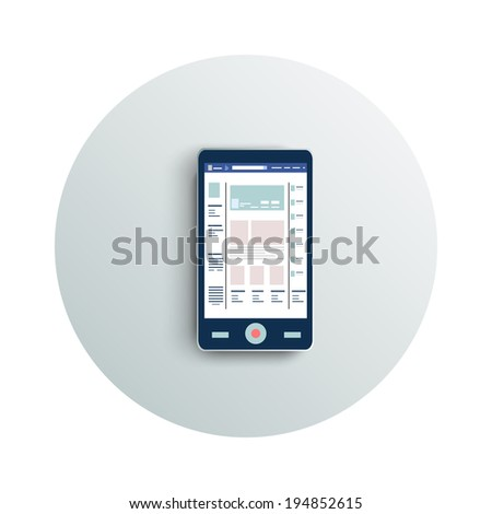 Detailed modern app icon of smartphone business concept on white background. Office and business work elements - stock vector
