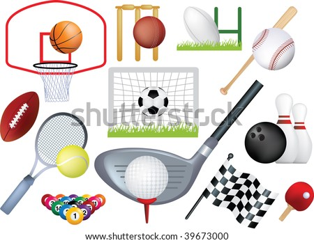 detailed  montage of different types of sport - stock vector