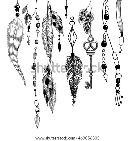 Detailed mystical illustration in boho style with feathers, beads and a key.