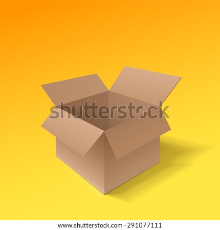 Detailed open cardboard box. Point of view from the side. Isolated on a orange background. Vector illustration.