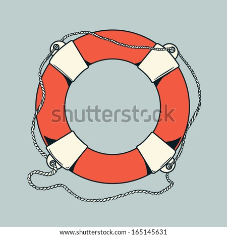 Detailed outlines, colored nautical life buoy isolated on grey background. Ship element. Vector illustration. - stock vector