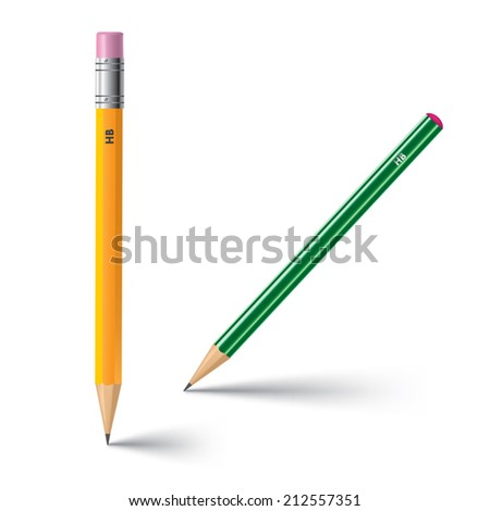 Detailed pencils on white background. Vector illustration