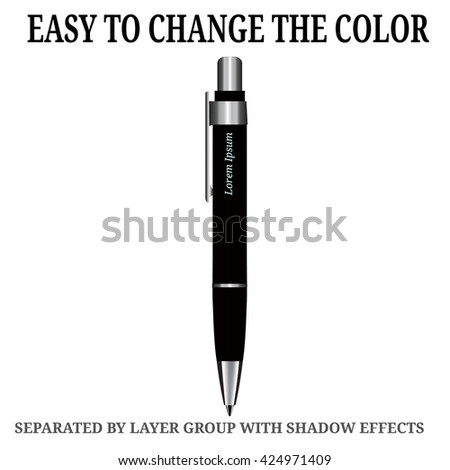 Detailed realistic vector black Pen icon. Illustration isolated from background. - stock vector