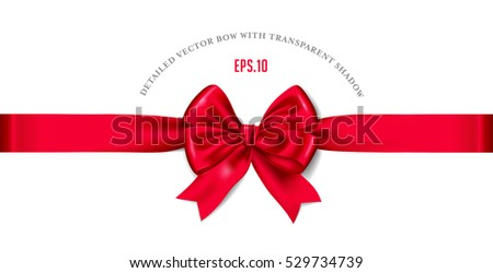 detailed red vector satin bow / ribbon for Christmas designs isolated on a white background