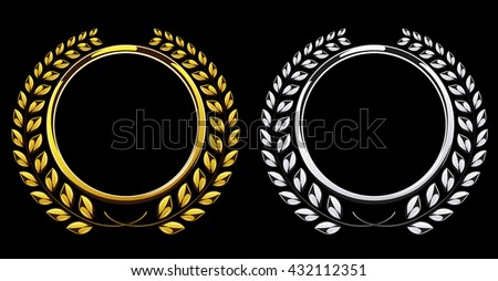 Detailed round silver and golden laurel wreath award set isolated on black background. Gold and platinum ring element for logo. Victory, honor achievement, quality product, anniversary. Vector - stock vector