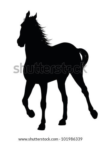 Detailed running horse silhouette. Vector - stock vector