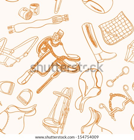 Detailed seamless horseback riding essentials pattern. Everything a horse needs in one drawing - saddle, bridle, bandage, saddle pad, halter. Dressage and  jumping accessories for horse in vector. - stock vector