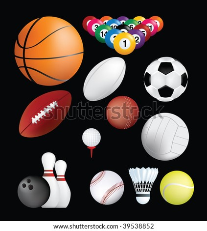 detailed set of sports ball on black background - stock vector