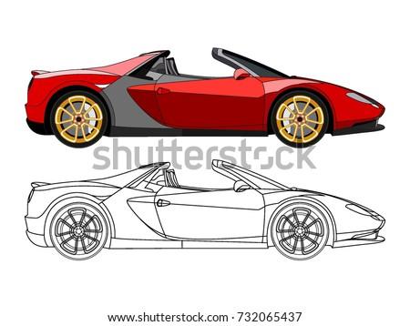 Detailed Side Flat Red Convertible Car Vector de stock (libre de ...