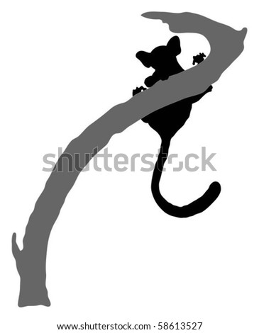 Detailed silhouette of an African bush baby (monkey)