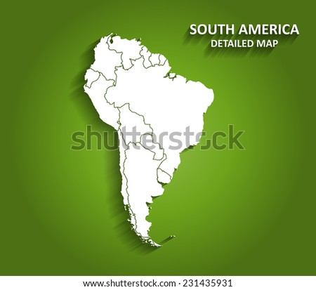 Detailed South America Map on Green Background with Shadows (EPS10 Vector) - stock vector