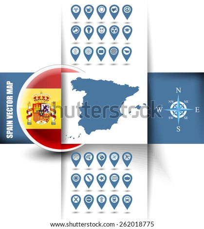 Detailed Spain contour map with rounded Spain flag icon, well detailed Spain emblem(coat of arms) and GPS icons. - stock vector