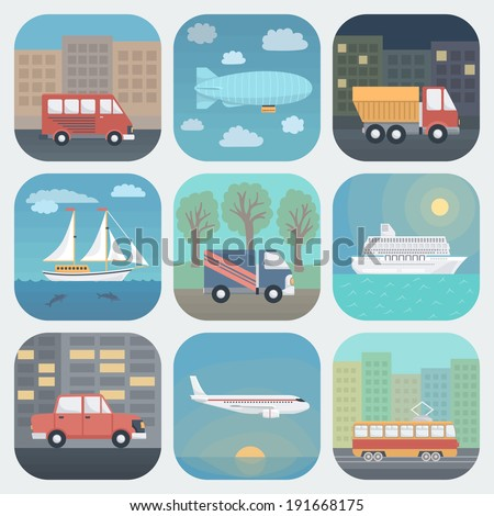Detailed Transport App Icons Set in Trendy Flat Style - stock vector