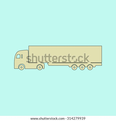 Detailed trucks silhouettes. Flat simple line icon. Retro color modern vector illustration pictogram. Collection concept symbol for infographic, logo and project  - stock vector
