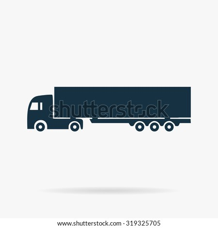 Detailed trucks silhouettes. Flat vector web icon or sign on grey background with shadow. Collection modern trend concept design style illustration symbol  - stock vector