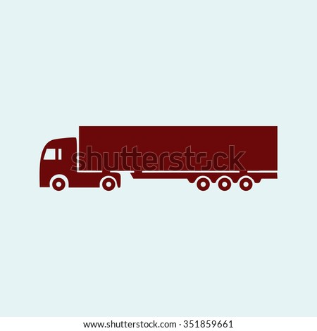 Detailed trucks silhouettes. Red vector icon. Simple modern illustration pictogram. Collection concept symbol for infographic project and logo  - stock vector