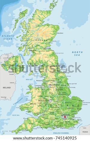 United Kingdom Irelandphysical Map Stock Vector - Ireland physical map